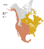 Map showing Non-Native Nations Claim_over NAFTA countries c. 1774