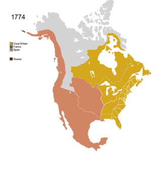 Territorial evolution of North America since 1763 - Image: Non Native Nations Claim over NAFTA countries 1774