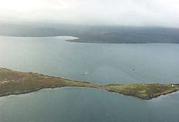 North Cava and Cava Light, Hoy in background, from a glider flying over Scapa Flow.
