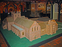 An abbey model seen from an elevated position from the southeast