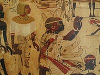 Nubian Prince Hekanefer bringing tribute for King Tut, 18th dynasty, Tomb of Huy.jpg