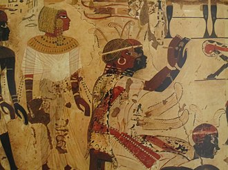 Nubian Prince Heqanefer bringing tribute for King Tutankhamun, 18th dynasty, Tomb of Huy. Circa 1342 - c. 1325 BC Nubian Prince Hekanefer bringing tribute for King Tut, 18th dynasty, Tomb of Huy.jpg