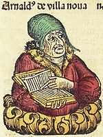 """Arnaldus de villa noua"": effigies ficta e Chronicis Norimbergensibus, 1493"