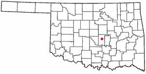 Tecumseh, Oklahoma - Image: OK Map doton Tecumseh