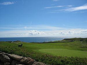 Links (golf) - The 18th hole at the Old Head Golf Links on the Old Head of Kinsale