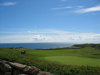 Golf course - The 18th hole at the Old Head Golf Links on the Old Head of Kinsale