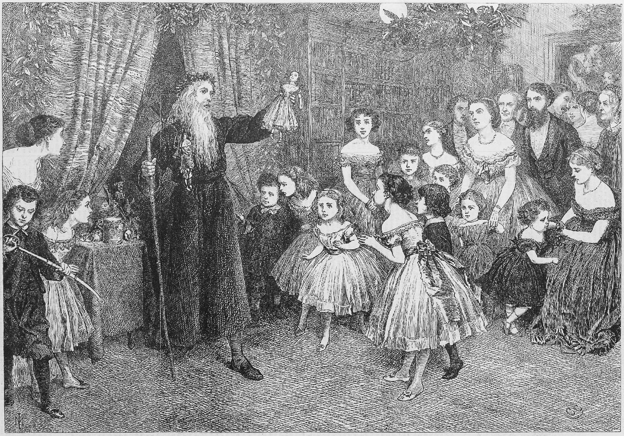 Engraving of Father Christmas at a children's party