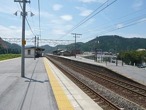 Ōmi-Nagaoka Station - Image: Omi Nagaoka Station down platform 20070817