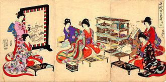 Ōoku - Ukiyo-e depiction of the Ōoku (by Hashimoto Chikanobu)