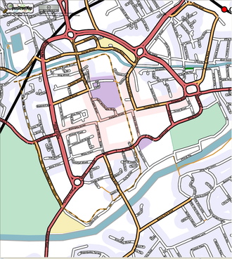 Eastgate and Eastgate Clock - Image: Open Street Map Central Chester