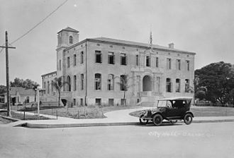 Orange, California - Orange City Hall, c. 1921. This building was razed in 1964 and is the site of the current Orange City Hall.