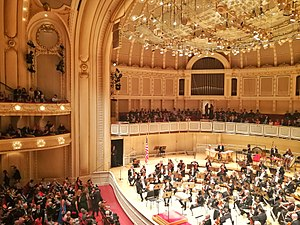 Symphony Center - Orchestra Hall at the Symphony Center in Chicago awaiting Ricardo Muti on the opening evening of the 2017-18 season.