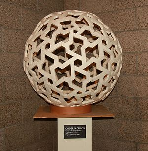Magnus Wenninger - An artistic model created by Father Wenninger called Order in Chaos, representing a chiral subset of triangles of a 16-frequency icosahedral geodesic sphere