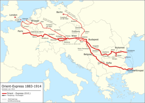 Georges Nagelmackers - Route of the Orient Express from 1883 to 1914
