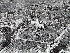 Bombing of Osaka - Namba area after the bombing. Nankai Namba Station is visible at left.
