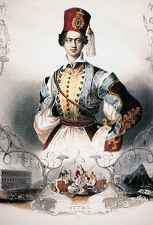 Kingdom of Greece - Otto, the first King of modern Greece, in traditional Greek dress.