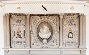 Fireplace mantel - Tudor overmantel at Madingley Hall, Cambridgeshire