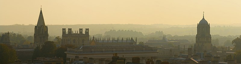 The spires of Oxford facing Christ Church to the south (Christ Church Cathedral on the left and Tom Tower on the right)