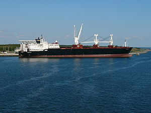 Strategic sealift ships - PFC William B. Baugh, docked in Port Canaveral, Florida in 2008.