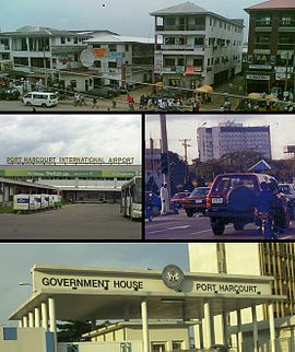 Top: A street scene in Port Harcourt Middle: فرودگاه بین‌المللی پورت هارکورت, The City Center Bottom: Government House, Port Harcourt