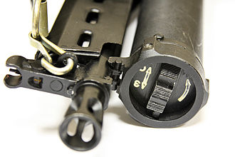 PP-19 Bizon - Detailed view of the front sight and magazine