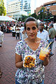 Pakora with sauce, Mango Lassi for drink, Portland Indian Festival.jpg
