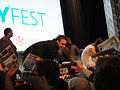 PaleyFest 2011 - Freaks and Geeks-Undeclared Reunion - Jason Segel signs for fans (5524465403).jpg