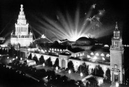 Fel verlicht paviljoen op de Panama–Pacific International Exposition