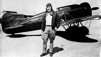 Pancho Barnes - Pancho Barnes with Travel Air Type R Mystery Ship R613K, c. 1930s