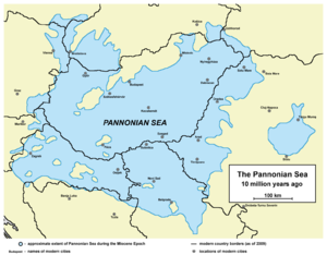 Pannonian island mountains - Approximate extent of the Pannonian Sea during the Miocene Epoch. Current borders and settlements superimposed for reference.