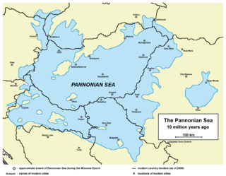 Pannonian Sea Shallow ancient sea where the Pannonian Basin in Central Europe is today