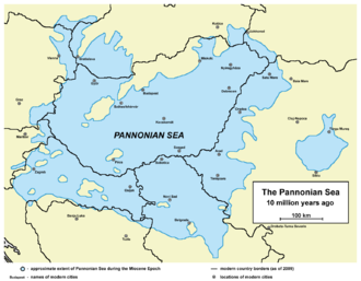 Pannonian Sea - Approximate extent of the Pannonian Sea during the Miocene Epoch. Current borders and settlements superimposed for reference.