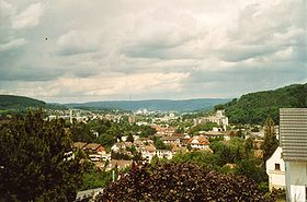 View of Liestal (Oristal, train station, lower suburb, lower Ergolztal, Frenkendorf)