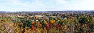 Panorama of fall foliage in Greenfield, Massac...