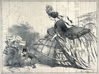 Paris during the Second Empire - An editorial cartoon of 1858 illustrates the opposition of many residents of the Paris suburbs to Napoleon III's plan to make them part of the city.