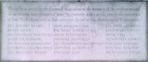 Robert Blake (admiral) - Memorial marking the reburial of Robert Blake and other Parliamentarians outside St Margaret's, Westminster