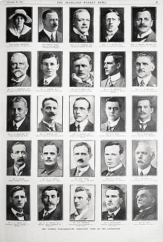 Peter Fraser - Poster featuring candidates for the 1919 general election, including Peter Fraser (centre)