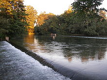 River cascading over a weir