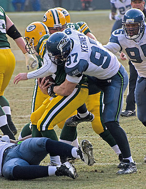 Quarterback sack - Green Bay quarterback Aaron Rodgers getting sacked by Seattle defensive end Patrick Kerney.