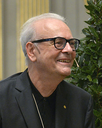 Patrick Modiano - Modiano in Stockholm during the Swedish Academy's press conference, Dec 2014