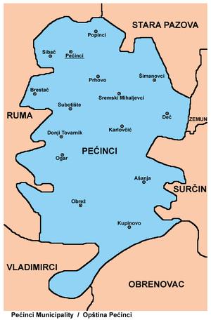pecinci mapa Opština Pećinci   Wikipedia pecinci mapa