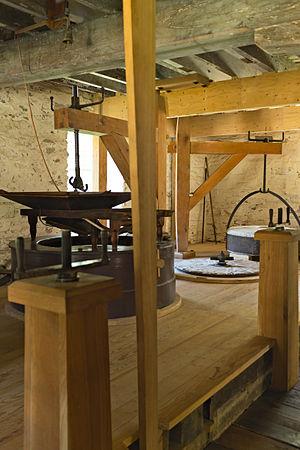 Peirce Mill - Millstones inside the mill