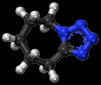 Pentylenetetrazol - Image: Pentylenetetrazol ball and stick model