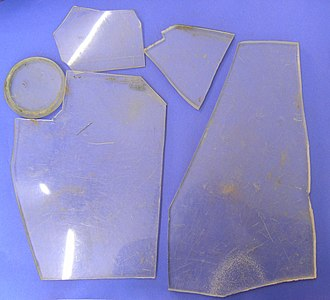 Poly(methyl methacrylate) - Pieces of perspex the windscreen of a German plane shot down during World War II