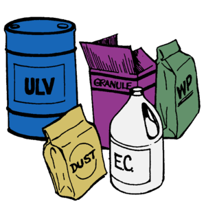 English: Drum, bottles and packs of pesticides