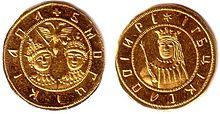 Новодел «Угорского» золотого Петра I и Ивана V. На реверсе изображена царевна Софья. 1689