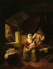 Boereninterieur met man en vrouw met kind op schoot