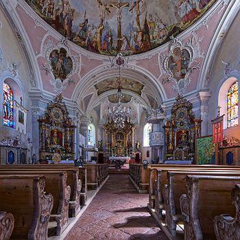 Interior of the roman-catholic parish church in Going am Wilden Kaiser (Tyrol, Austria).