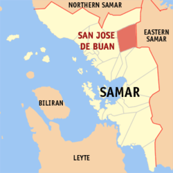 Map of Samar with San Jose highlighted