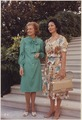 Photograph of First Lady Betty Ford Posing with Consuelo Velasco, First Lady of Peru, on the Steps Leading to the... - NARA - 186816.tif